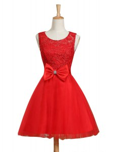 Scoop Red Sleeveless Tulle Lace Up Prom Party Dress for Prom
