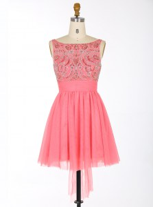 Cute Mini Length Watermelon Red Prom Gown Scoop Sleeveless Backless