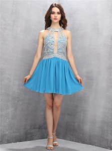 Fine Halter Top Baby Blue Sleeveless Chiffon Zipper for Prom and Party