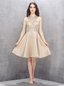 Champagne High-neck Neckline Beading Prom Evening Gown Sleeveless Criss Cross