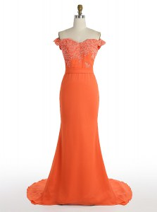 Mermaid Off The Shoulder Sleeveless Prom Dresses With Train Sweep Train Lace Orange Satin