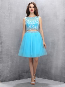Best Selling Scoop Sleeveless Backless Knee Length Beading Dress for Prom