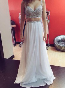 Sequins Evening Dress White Zipper Sleeveless Floor Length