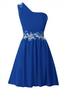 Hot Selling Royal Blue A-line Chiffon One Shoulder Sleeveless Appliques and Ruffles Mini Length Zipper
