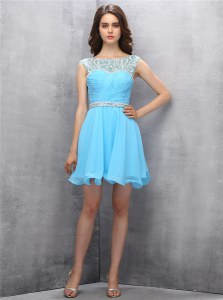 Luxurious Scoop Knee Length Baby Blue Prom Party Dress Chiffon Sleeveless Beading