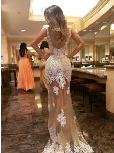 Mermaid Scoop Appliques Dress for Prom Champagne Backless Sleeveless Court Train