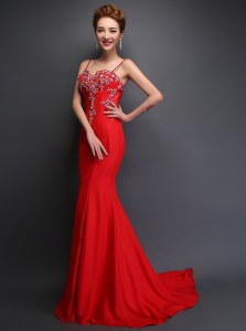 Mermaid Spaghetti Straps Sleeveless Prom Evening Gown With Brush Train Beading Red Satin
