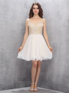 Pretty Beading Prom Evening Gown Champagne Zipper Sleeveless Knee Length