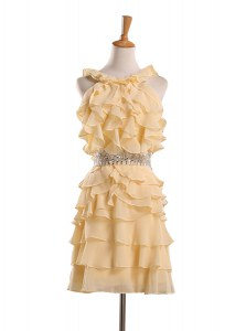 Gold A-line Halter Top Sleeveless Chiffon Knee Length Zipper Beading and Ruffles Prom Dresses