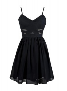 Great Chiffon Spaghetti Straps Sleeveless Zipper Ruching in Black