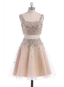 Stylish Champagne A-line Straps Sleeveless Organza Mini Length Zipper Beading Prom Party Dress