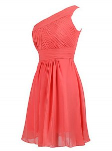 One Shoulder Watermelon Red Sleeveless Ruffles Knee Length Prom Party Dress