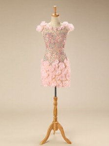 Sophisticated Scoop Pink Cap Sleeves Beading and Hand Made Flower Mini Length Cocktail Dress