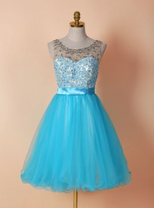 Scoop Tulle Sleeveless Knee Length Evening Dress and Beading and Lace