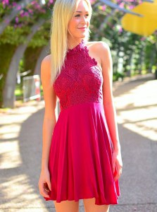 Dazzling Halter Top Chiffon Sleeveless Mini Length Dress for Prom and Appliques