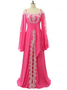 Spaghetti Straps Long Sleeves Prom Party Dress Sweep Train Lace and Sequins Hot Pink Chiffon