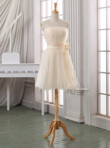 Elegant Strapless Sleeveless Prom Gown Knee Length Belt and Hand Made Flower White and Champagne Tulle