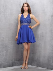 Flare Sleeveless Backless Mini Length Beading and Belt Evening Dress
