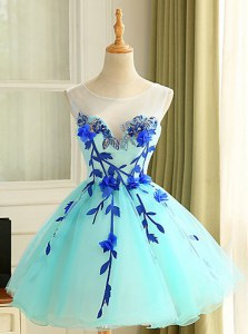 Blue Ball Gowns Scoop Sleeveless Organza Mini Length Zipper Beading and Appliques Prom Party Dress
