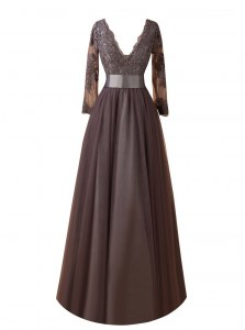 Floor Length Brown Dress for Prom Organza Long Sleeves Lace