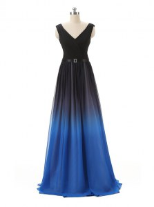 Sumptuous Blue And Black A-line V-neck Sleeveless Chiffon and Tulle Floor Length Zipper Belt Prom Dress