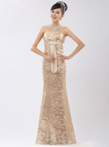 Champagne Sequined Zipper Prom Evening Gown Sleeveless Floor Length Appliques and Belt
