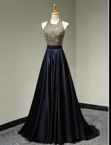 Scoop Sleeveless With Train Beading Backless Homecoming Dress with Black Brush Train