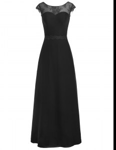 Scoop Black A-line Appliques Dress for Prom Zipper Chiffon Cap Sleeves Floor Length