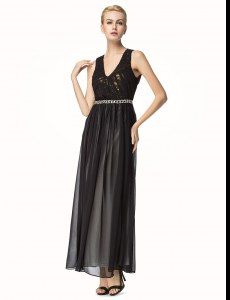 Chiffon V-neck Sleeveless Backless Beading and Pleated in Black