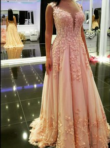 Peach Backless V-neck Appliques Prom Evening Gown Tulle Sleeveless