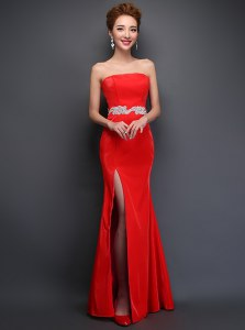 Mermaid Red Sleeveless Beading Floor Length
