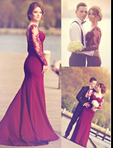 Hot Selling Burgundy Mermaid Scoop Long Sleeves Elastic Woven Satin Brush Train Zipper Appliques Prom Dress
