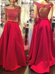Off the Shoulder Beading Prom Party Dress Red Backless Sleeveless With Train Sweep Train