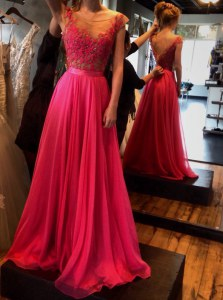 Custom Fit Scoop Red Zipper Prom Dress Appliques Sleeveless Floor Length