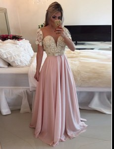 High Quality Floor Length Pink Prom Dresses Scoop Short Sleeves Zipper