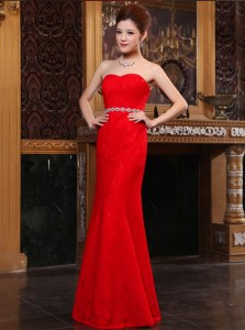 Glittering Mermaid Lace Red Dress for Prom Prom and Party and For with Beading Sweetheart Sleeveless Zipper