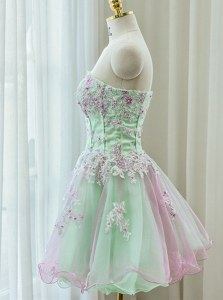 Custom Made Sleeveless Mini Length Beading and Appliques Zipper with Multi-color