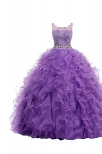 Purple Zipper Straps Beading and Belt Prom Party Dress Organza Sleeveless Sweep Train