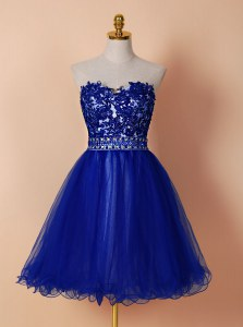 Fitting Royal Blue Evening Dress Prom and For with Beading and Appliques Sweetheart Sleeveless Zipper