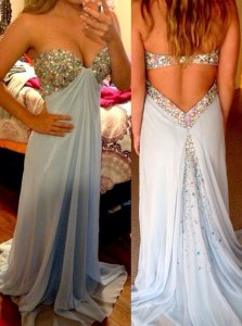 Pretty Sleeveless Brush Train Beading Backless Prom Dresses