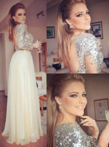 Luxury Backless Champagne Long Sleeves Sequins Floor Length Prom Gown