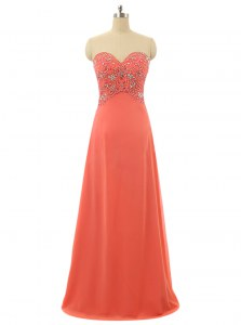 Watermelon Red Lace Up Prom Dresses Beading Sleeveless Floor Length