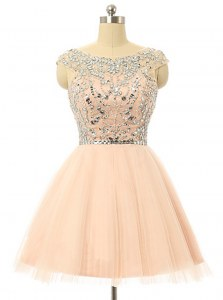 Scoop Peach Zipper Dress for Prom Beading and Sequins Sleeveless Knee Length