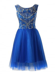 Glamorous Royal Blue Tulle Zipper Scoop Sleeveless Mini Length Prom Party Dress Beading
