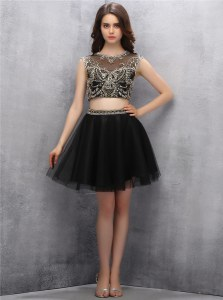 Admirable Black A-line Scoop Sleeveless Tulle Mini Length Zipper Beading Prom Dress