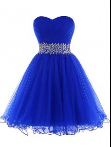 Royal Blue A-line Sweetheart Sleeveless Tulle Mini Length Lace Up Beading Dress for Prom