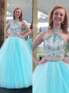 On Sale Blue A-line Halter Top Sleeveless Tulle Floor Length Backless Beading Prom Dresses