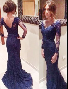 Navy Blue Mermaid Lace V-neck Long Sleeves Lace Backless Prom Dresses Court Train