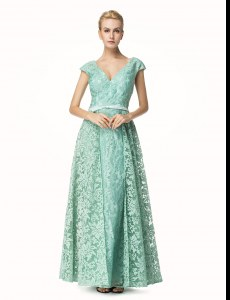 Most Popular Pleated Turquoise Cap Sleeves Lace Zipper Dress for Prom for Prom and Party