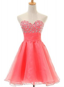 Watermelon Red Organza Zipper Sleeveless Beading